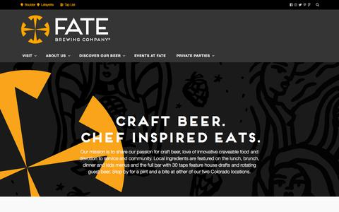 Screenshot of Home Page fatebrewingcompany.com - FATE Brewing Company – Colorado Craft Beer - captured Aug. 8, 2018