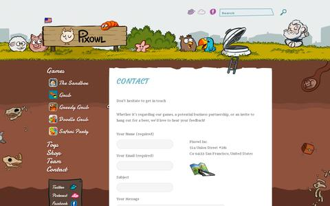 Screenshot of Contact Page pixowl.com - Contact | Pixowl – Mobile Games Studio - captured July 19, 2014