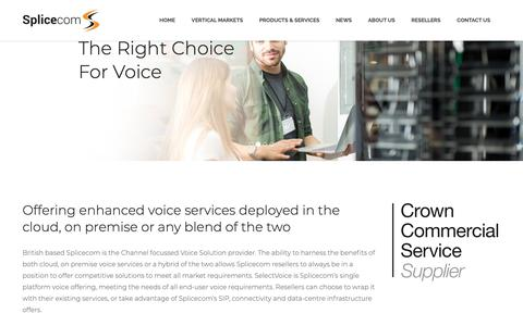 Screenshot of Home Page splicecom.com - The Right Choice For Voice - Splicecom - captured May 16, 2019