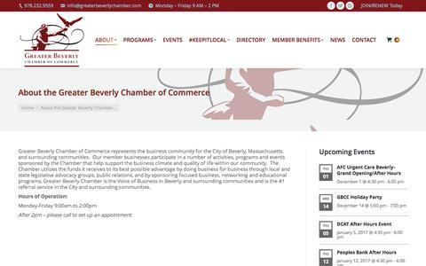 Screenshot of About Page greaterbeverlychamber.com - About the Greater Beverly Chamber of Commerce - Greater Beverly Chamber of Commerce - captured Nov. 22, 2016