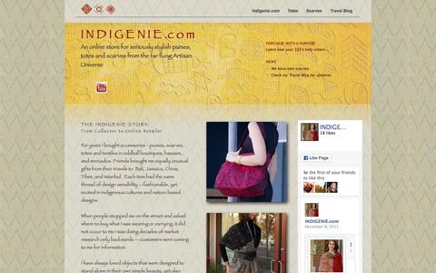 Screenshot of Home Page indigenie.com - Indigenie  Warm Wool Silk Colorful Scarves and Asian Designed Totes - captured Aug. 2, 2015