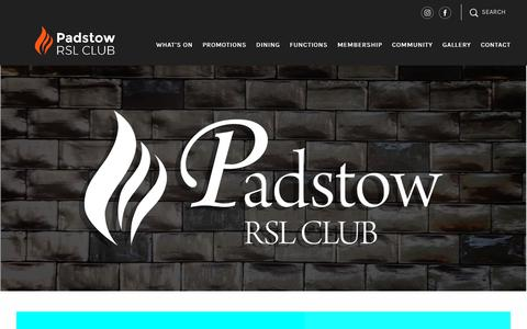 Screenshot of Home Page padstowrsl.com.au - Padstow RSL - captured July 1, 2018