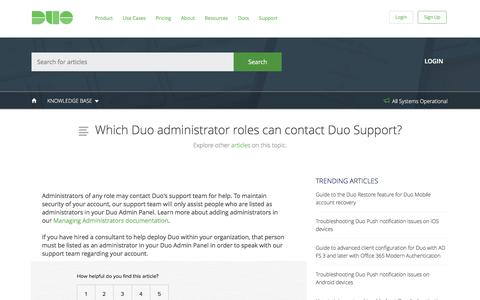 Which Duo administrator roles can contact Duo Support?