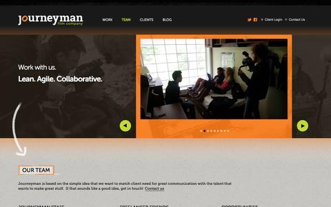 Screenshot of Team Page journeymanfilm.com - Team | Film and Video Production | Journeyman Film Company | Nova Scotia - captured Oct. 6, 2014