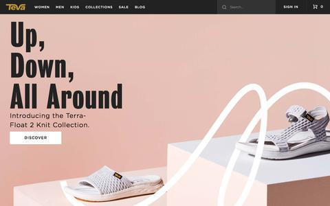 Screenshot of Home Page teva.com - Teva® | Fashionable Sandals, Flip Flops, Boots, & Casual Shoes - captured Feb. 1, 2018