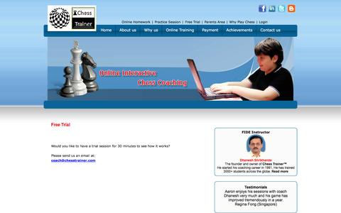 Screenshot of Trial Page chesstrainer.com - Chess - captured Dec. 8, 2015