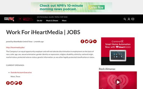 Screenshot of Jobs Page iheart.com - Work For iHeartMedia | JOBS | 107.3 The Fox Rocks - captured June 22, 2018