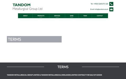 Screenshot of Terms Page tandom.co.uk - Terms | Tandom Metallurgical Group Ltd - captured Nov. 5, 2017