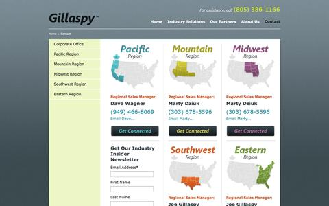 Screenshot of Contact Page gillaspysales.com - Contact - Gillaspy Associates - captured Oct. 2, 2014