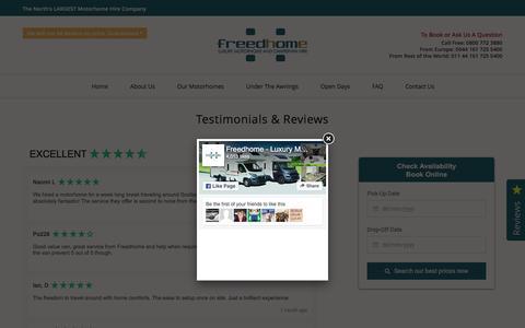 Screenshot of Testimonials Page freedhome.co.uk - Freedhome Reviews & Testimonials   UK Motorhome Hire & Rentals - captured Nov. 25, 2016