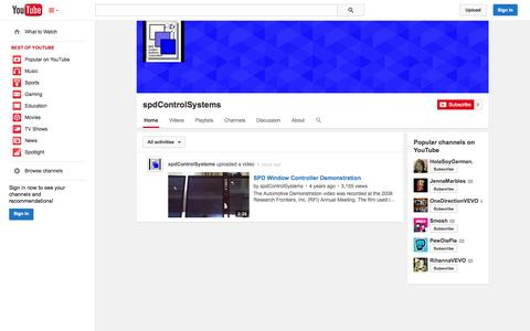 Screenshot of YouTube Page youtube.com - spdControlSystems  - YouTube - captured Oct. 22, 2014