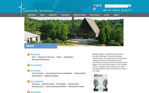 Screenshot of About Page lpts.edu - About Louisville Seminary - captured Sept. 30, 2018