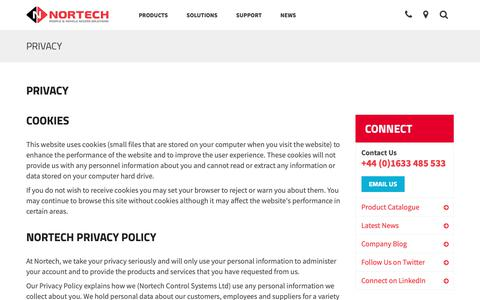 Screenshot of Privacy Page nortechcontrol.com - Terms Of Use | Nortech Control Systems Ltd - captured Oct. 20, 2018