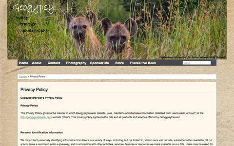 Screenshot of Privacy Page geogypsytraveler.com - Geogypsytravler Privacy Policy - captured Oct. 31, 2014