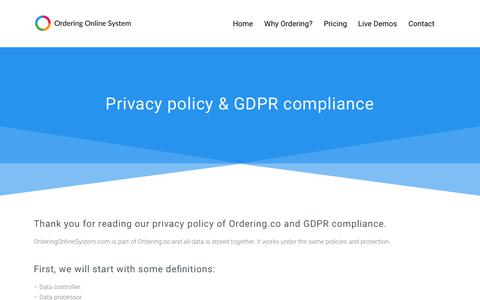 Screenshot of Privacy Page orderingonlinesystem.com - Privacy Policy - Ordering store, dashboard, apps & more. - captured June 21, 2018