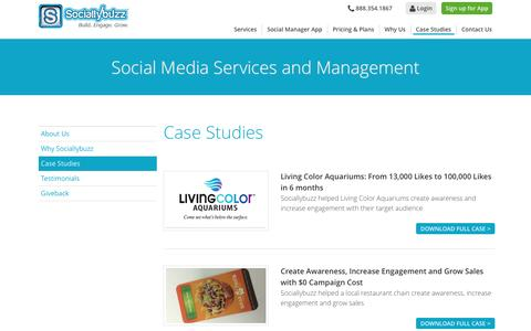 Screenshot of Case Studies Page sociallybuzz.com - Case Studies | Social Media Services and Management | Sociallybuzz - captured Dec. 19, 2015