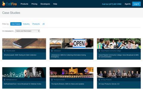Screenshot of Case Studies Page callfire.com - Case Studies - captured July 16, 2017