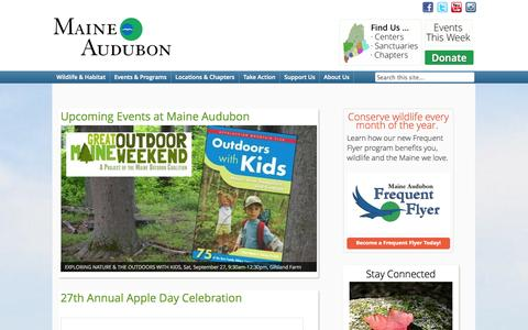 Screenshot of Home Page maineaudubon.org - Maine Audubon - Conserving Maine's wildlife. For everyone.Maine Audubon   Conserving Maine's wildlife. For everyone. - captured Sept. 30, 2014