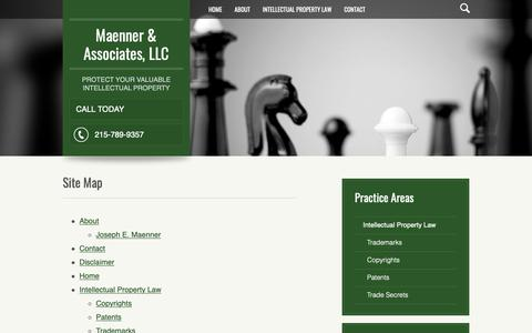 Screenshot of Site Map Page maennerlaw.com - Site Map   Maenner & Associates LLC   Philadelphia, Pennsylvania - captured Oct. 21, 2018
