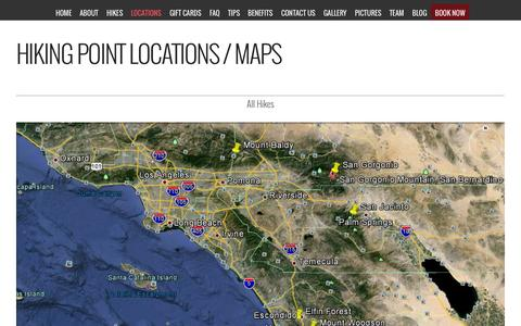 Screenshot of Locations Page calihikes.com - Hiking Point Locations / Maps | Cali Hikes | San Diego Hiking Tours - captured July 17, 2015