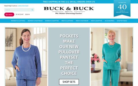 Screenshot of Home Page buckandbuck.com - Adaptive Clothing for Seniors, Disabled & Elderly Care Adaptive Clothing for Seniors, Disabled & Elderly Care - captured Nov. 11, 2018