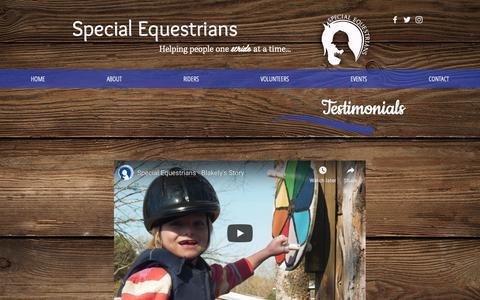 Screenshot of Testimonials Page specialequest.org - Therapeutic Riding | Birmingham, AL | Special Equestrians | TESTIMONIALS - captured Oct. 19, 2018