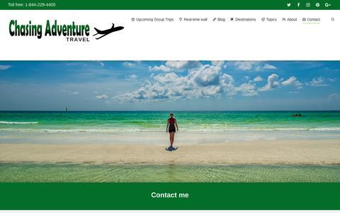 Screenshot of Contact Page chasingadventure.ca - Contact | Chasing Adventure Travel - captured May 16, 2017
