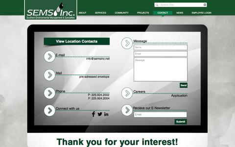 Screenshot of Contact Page semsinc.net - Sems, Inc. l Contact - captured Nov. 17, 2016