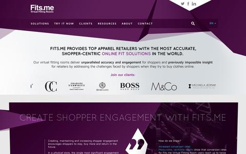 Screenshot of Home Page fits.me - Fits.me | Virtual Fitting Room - captured Sept. 16, 2014