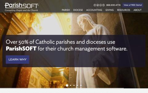 Screenshot of Home Page parishsoft.com - Catholic Church Management Software | Church Accounting Software - captured May 14, 2017
