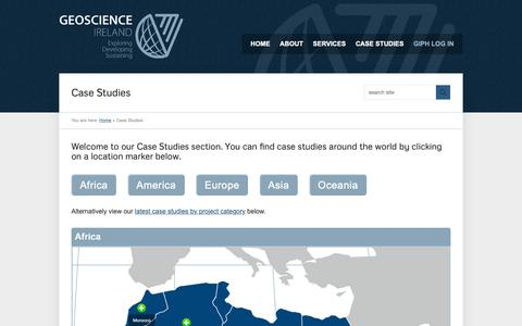 Screenshot of Case Studies Page geoscience.ie - Case Studies | Geoscience Ireland - captured Sept. 28, 2018