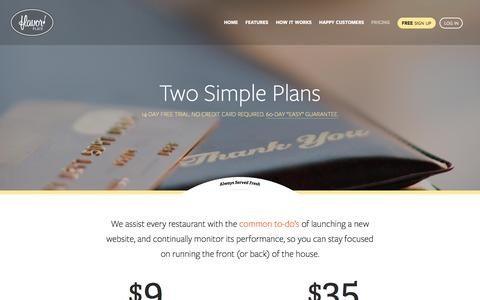 Screenshot of Pricing Page flavorplate.com - Quick, Easy, and Affordable Restaurant Website Design Solution - captured Jan. 8, 2016