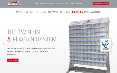 Screenshot of Home Page twinbin.com - Welcome to the home of world class KanBan Innovation - Twin Bin - captured Nov. 15, 2016