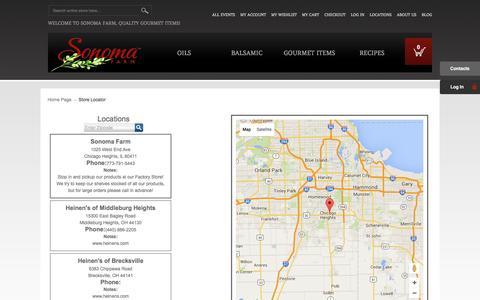 Screenshot of Locations Page sonomafarm.com - Store Locator - captured Feb. 24, 2016