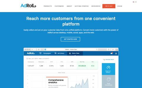 Screenshot of Products Page adroll.com - Retargeting Products & Solutions | AdRoll - captured Nov. 14, 2015