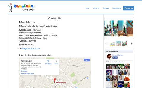 Screenshot of Contact Page ramukaka.com - Ramukaka Household services in Hyderabad|Temporary Drivers in hyderabad|Cabs in Hyderabad|Carpenter in Hyderabad|Plumber in hyderabad - captured Sept. 19, 2014