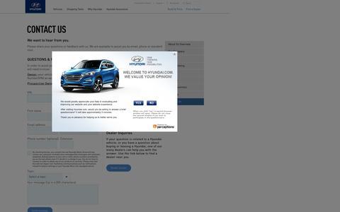 Screenshot of Contact Page hyundaiusa.com - Contact Us   Hyundai - captured Oct. 31, 2016