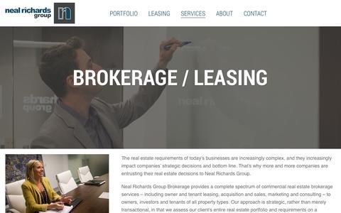 Screenshot of Services Page nealrichardsgroup.com - Brokerage / Leasing - Neal Richards Group - captured Oct. 7, 2014