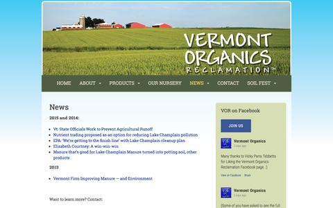 Screenshot of Press Page vermontorganics.com - News | Vermont Organics Reclamation - captured Dec. 3, 2016