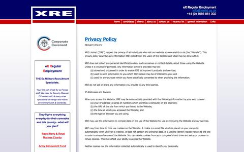 Screenshot of Privacy Page xreltd.co.uk - Privacy Policy - captured Oct. 4, 2014
