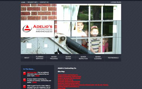 Screenshot of Site Map Page adelioscontracting.com - Site Map | Adelio's Contracting Co. - captured Oct. 4, 2014