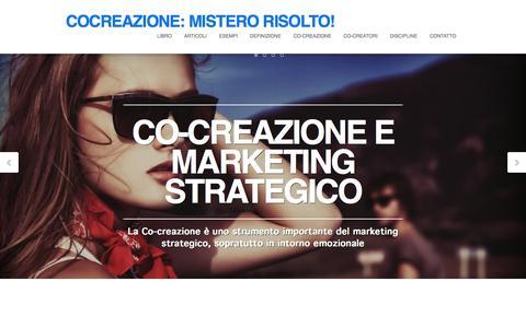 Screenshot of Home Page cocreazione.it - Co-creazione: Mistero Risolto! - captured Sept. 10, 2015