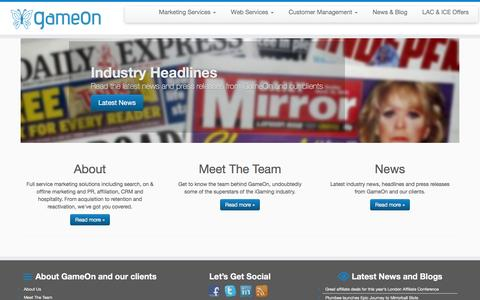 Screenshot of Home Page gameon.im - GameOn | Marketing, Acquisition, Retention and Reactivation Services - captured Jan. 25, 2016