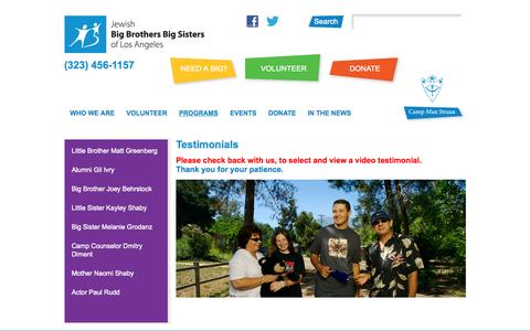 Screenshot of Testimonials Page jbbbsla.org - Testimonials  |  Jewish Big Brothers Big Sisters of Los Angeles - captured Sept. 30, 2014