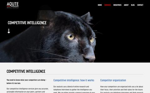 Screenshot of Services Page aqute.com - COMPETITIVE INTELLIGENCE — Aqute Intelligence - captured April 5, 2019