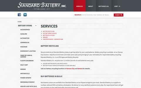 Screenshot of Services Page standardbatteryinc.com - Services – Standard Battery - captured Feb. 25, 2016