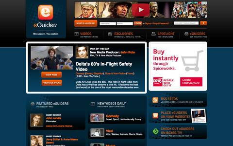 Screenshot of Home Page eguiders.com - eGuiders - Online Internet Video Clips and Exclusives Video Highlights - We Search. You Watch. - captured June 21, 2015