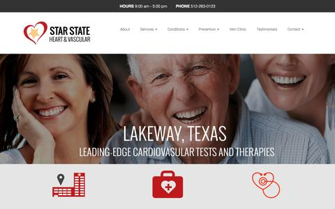 Screenshot of Home Page starstateheart.com - Star State Heart – Interventional Cardiology | Cardiovascular Clinic | Cardiac Surgeons | Cardiologists | Austin, TX - captured Dec. 3, 2016