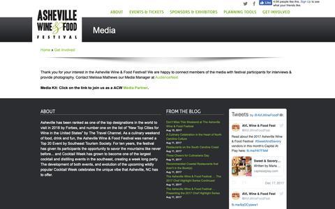 Screenshot of Press Page ashevillewineandfood.com - Media | Asheville Wine & Food Festival - captured Dec. 18, 2018