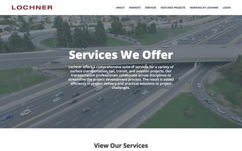 Screenshot of Services Page hwlochner.com - Services - HW Lochner - captured July 22, 2018